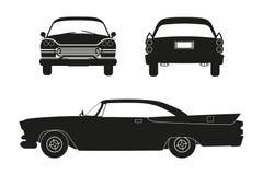 Kontur av den retro bilen Tappningcabriolet Framdel-, sido- och baksidasikt stock illustrationer