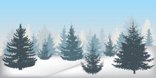 Kontur av den snöig skogen för vinter, härliga prydliga träd royaltyfri illustrationer