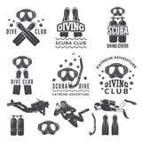 Kontur av dykapparaten och dykare Etiketter för havssportklubba royaltyfri illustrationer