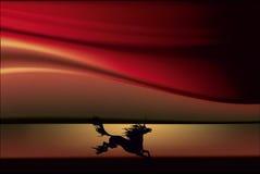 Kontur av en bezhashchy enhörning mot bakgrunden av en nedgång stock illustrationer