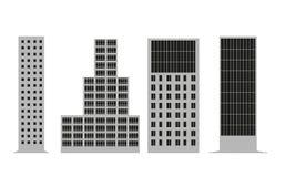 Kontur av en byggnadsfasad Skyskrapatyp Vektor en Arkivbild