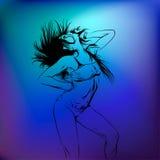 Kontur av en dansflicka Arkivbild