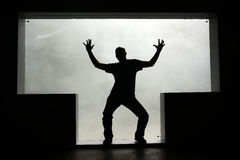Kontur av en dansman i ettformat fönster Royaltyfri Foto