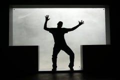 Kontur av en dansman i ettformat fönster Arkivfoton