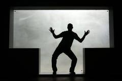 Kontur av en dansman i ettformat fönster Arkivbilder