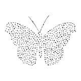 Kontur av en fjäril Bakgrund av punkterna också vektor för coreldrawillustration Royaltyfria Bilder