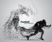 Kontur av en fotbollsspelare från partikel rugby amerikansk footballer Royaltyfri Bild