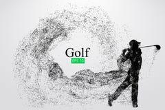 Kontur av en golfspelare också vektor för coreldrawillustration Arkivfoto