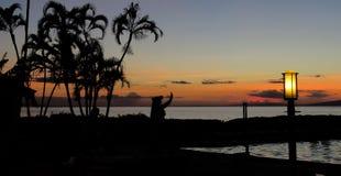 Kontur av en hawaiansk huladansare på solnedgången med palmträd på stranden, Lahaina, Maui, Hawaii royaltyfri fotografi