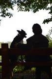 Kontur av en hund och en kvinna på en bänk Royaltyfria Bilder