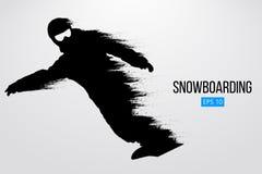 Kontur av en isolerad snowboarder också vektor för coreldrawillustration Arkivfoton