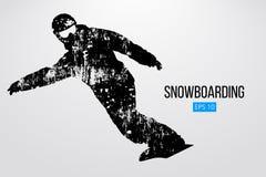 Kontur av en isolerad snowboarder också vektor för coreldrawillustration Royaltyfri Fotografi