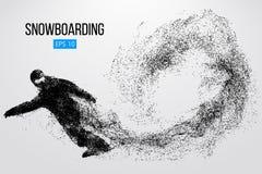 Kontur av en isolerad snowboarder också vektor för coreldrawillustration Royaltyfri Bild