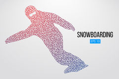 Kontur av en isolerad snowboarder också vektor för coreldrawillustration Arkivbild