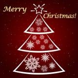 Kontur av en julgran med snöflingor stock illustrationer