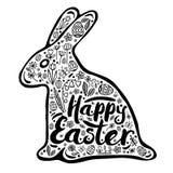 Kontur av en kanin med lyckönskan för en lycklig påsk set vektor för teckeningrepp Vektorillustration, designbeståndsdel Arkivfoto