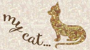 Kontur av en katt och inskriften av min katt Vektorbil Royaltyfri Bild