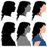 Kontur av en kvinna i profil Fotografering för Bildbyråer