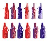 Kontur av en kvinna och en flaska Royaltyfri Fotografi