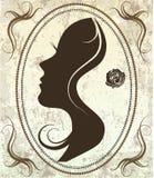 Kontur av en kvinnas framsida på en retro bakgrund vektor illustrationer