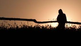 Kontur av en man med ryggsäcken som går på skymning på darklight i fältet lantlig plats Lantlig livsstilbakgrund arkivfilmer