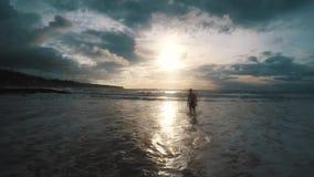 Kontur av en manspring ut ur havet på solnedgången arkivfilmer
