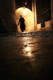 Kontur av en munk i nattslotten Royaltyfria Foton