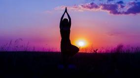 Kontur av en praktiserande yoga för ung flicka på lager videofilmer