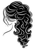 Kontur av en profil av s?ta en dams huvud En flicka visar en kvinnlig svans-frisyr p? l?ngt och medelh?r Passande f?r logo, royaltyfri illustrationer