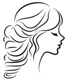 Kontur av en profil av s?ta en dams huvud Flickan visar en kvinnlig frisyr p? medel- och l?ngt h?r Passande f?r logo, stock illustrationer
