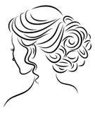 Kontur av en profil av s?ta en dams huvud Flickan visar en kvinnlig frisyr p? medel- och l?ngt h?r Passande f?r logo, vektor illustrationer