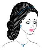 Kontur av en profil av s?ta en dams huvud Flickan visar en kvinnlig frisyr p? medel- och l?ngt h?r Passande f?r logo, royaltyfri illustrationer