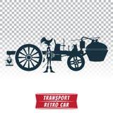 Kontur av en retro bil med chauffören Royaltyfria Bilder