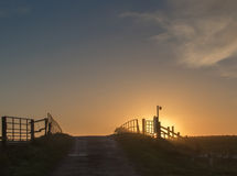 Kontur av en soluppgång över bron arkivbilder