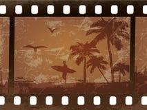 Kontur av en surfare med palmträd stock illustrationer