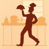 Kontur av en ung kock i köket av restaurangen Vec Vektor Illustrationer