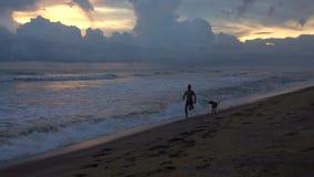 Kontur av en ung man med körningar för en hund längs stranden av ett tropiskt hav på solnedgången stock video
