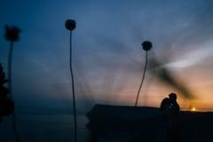 Kontur av ett älska par som kysser i solnedgången Royaltyfri Foto