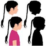 Kontur av ett barn i profil Fotografering för Bildbyråer