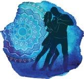 Kontur av ett danspar stock illustrationer