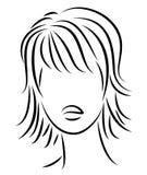 Kontur av ett huvud av en s?t dam En flicka visar en frisyr av en kvinna p? medel- och l?ngt h?r Passande f?r logo och att annons royaltyfri illustrationer