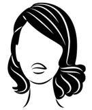Kontur av ett huvud av en s?t dam En flicka visar en frisyr av en kvinna p? medel- och l?ngt h?r Passande f?r logo och att annons stock illustrationer