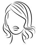 Kontur av ett huvud av en s?t dam En flicka visar en frisyr av en kvinna p? medel- och l?ngt h?r Passande f?r logo och att annons vektor illustrationer