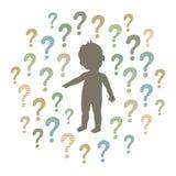 Kontur av ett nyfiket barn som omkring pekar på något och frågefläckar Arkivfoton
