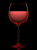Kontur av färgrikt vinexponeringsglas på svart Royaltyfri Bild