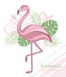 Kontur av flamingo också vektor för coreldrawillustration Flamingo och tropiska växter Arkivfoto