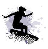 Kontur av flickan av surfaren mot bakgrunden av färgstänk i stilgrunge stock illustrationer