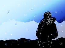 Kontur av flickan på en bakgrund av berg Royaltyfria Foton