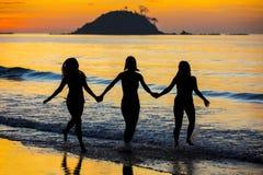 Kontur av flickor på solnedgången Fotografering för Bildbyråer