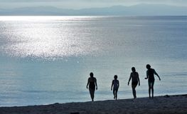 Kontur av fyra damer under solnedgång arkivfoto